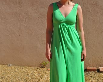 Vintage 1970s Lime Green Sleeveless Maxi Dress