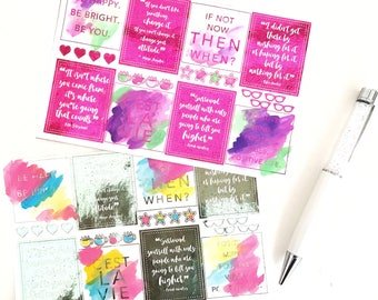 Hand Painted Water Color & Foiled Planner Stickers (Multicolored)   Erin Condren Stickers   Limelife Stickers   Sugar Paper Planner