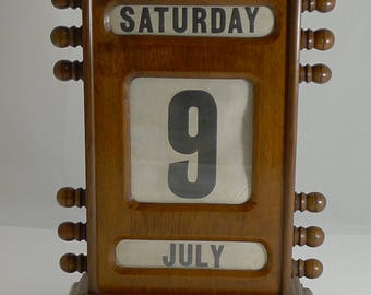 "Oversized (15 1/2"" tall) Antique English Perpetual Desk Calendar"