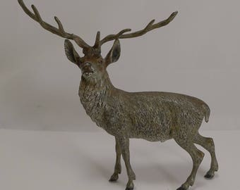 Large Antique Austrian Cold Painted Bronze Stag Figure c.1890