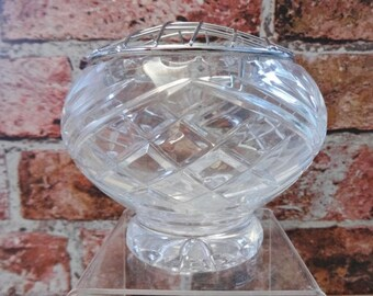 Lead Crystal Cut Glass brass Rose Bowl vase 11.4cm high