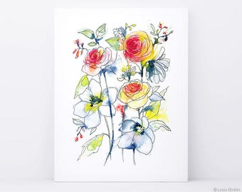 Flower painting, watercolor flower, watercolor flower print, abstract flower, flower art, colorful flower, floral print, watercolor art