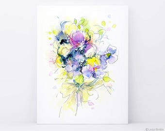 The Sunlight, watercolor art, watercolor painting, watercolor flower print, abstract flower, yellow flower, yellow watercolor