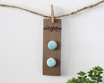 Watercolour Mint Hand Dyed Fabric Button Earrings