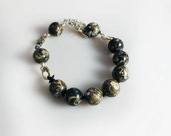 Handmade Interlock Bracelet In Crazy Lace Agate Beads & Silver