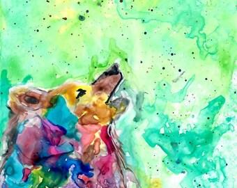 Howling Wolf | Wolf Art | Spirit Animal | Print | Nursery | Wildlife | Yupo Paper