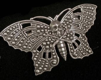 death head moth hair clip - barrette - silence of the lambs - skull - butterfly