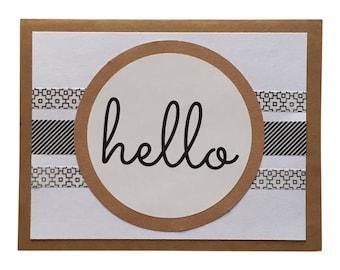 Hello Greeting Card - Blank, Kraft, Black & White
