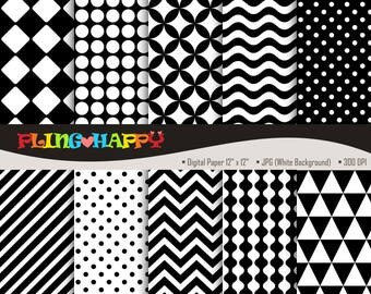 70% OFF Black And White Digital Papers, Black And White Digital Papers Graphics, Personal & Small Commercial Use, Instant Download