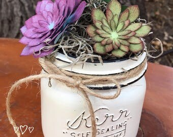 Mason Jar with Fuax Succulents- Succulents- Desk Decor- Vanity Decor- Home Decor-Faux Succulents-Wide Mouth Mason Jar