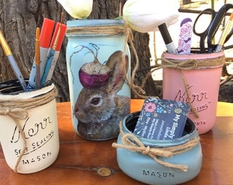 Mason Jar Bunny Desk Set-Desk Set-Bunny Mason Jar Office-Desk Organizer-Mason Jar Office Set-Office -Desk Decor-Desk Set-business card jar