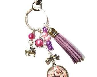 Keychain bag charm dog in the bag