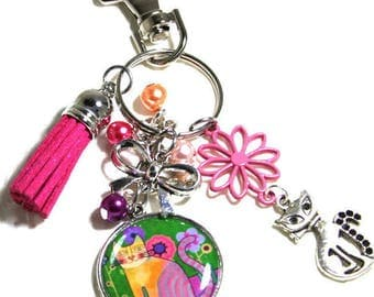 Keychain / bag charm / Juju cat in the colours give a gift