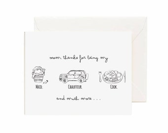 Funny Thanks Mom Greeting Card