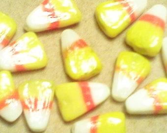 Candy corn beads: little lampwork glass, candy corn beads, approximately 13x10x4mm, 6pcs/5.60.