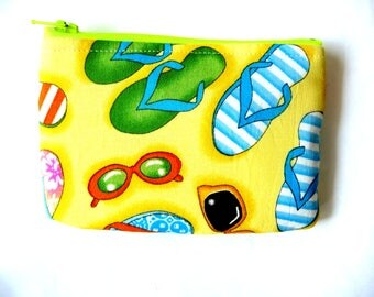 New! coin purse with sunglasses and flip flops  made from summer fabric