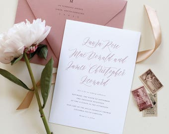 Mauve Wedding Invitations, Dusty Rose Wedding Invitation, Calligraphy Wedding Invitation, Simple Romantic Modern Design, Wedding Invite