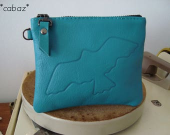 Leather pocket, sky blue, swallow engraved on leather