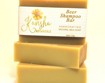 BEER SHAMPOO BAR 100% Natural Handmade Soap, Australian Vegan Soap, Kansha Botanicals