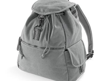 grey canvas fabric backpack
