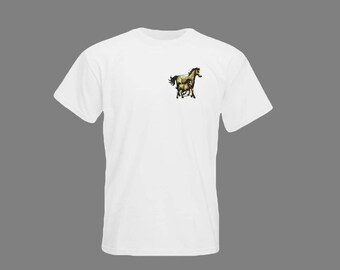 embroidered t shirt white horses 8cm