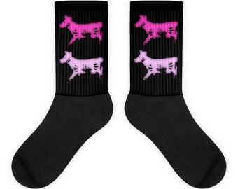 2 Pink Cows Socks