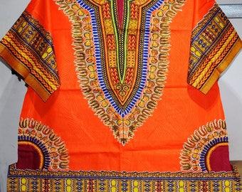 Orange Angelina Dashiki Large Shirt,  Unisex Dashiki Shirt,  Afro Shirt - Made to order