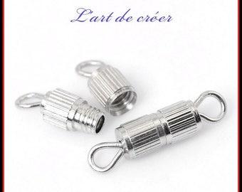 20 x clasp screw 15x3.7mm for necklace, silver bracelet