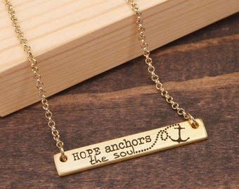 Hope Anchors the Soul Necklace, Inspirational Quote Necklace, Horizontal Bar Necklace, Anchor Necklace, Two Sided Necklace BN953-G3
