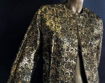 Vintage 1950's Saks Fifth Ave Gold / Black Brocade Jacket