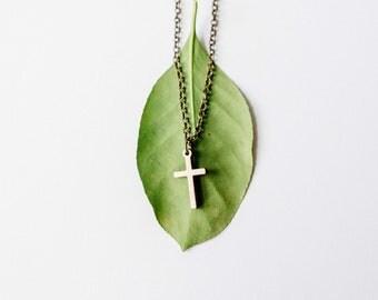 Vertical Cross Pendant Necklace, Laser Cut Wood Charm, Baltic Birch Pendant, Minimalist Necklace, Vertical Cross Pendant Necklace