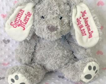 My Adoption Day personalized embroidered stuffed bunny, personalized plushie, embroidered stuffed animal, gotcha day, adoption gift, adopt
