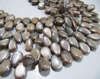 AAA Quality Natural Chocolate Moonstone Plain Smooth Pear Shape Beads, AB Mystic Coated Beads Size 6x8 to 10x15mm Stand 8 Inches Long