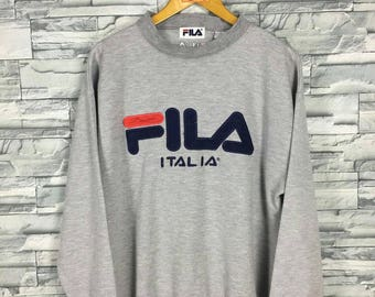 FILA Sweater Jumper Women/Men Medium Fila Italia Big Logo  Sportswear Fila Sweater Vintage 90s Fila Sport Gray Pullover Sweatshirt Size M