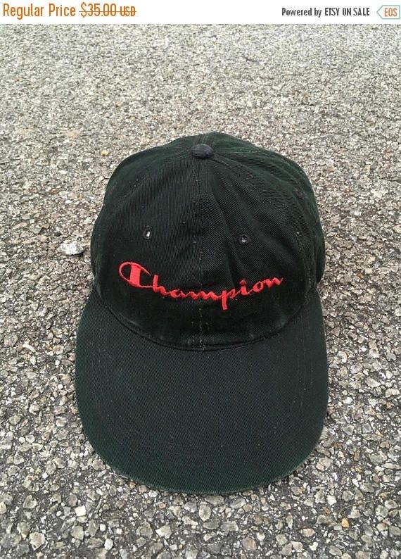 562bae4397d CHAMPION Usa Cap Big Logo Vintage 90s Snapback Champion Spell Out Trucker  Cap Adjustable Baseball Black