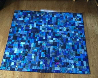 The Blues single bed quilt