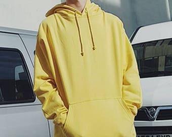 Oversized Ringspun Cotton Hoodie Yellow