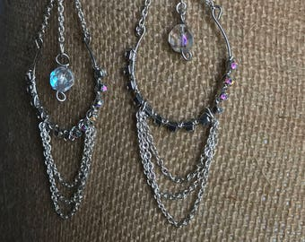 Chandelier earrings, wire, rhinestone embellishment, chain link