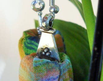 Multicolor fabric earrings