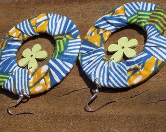 Fabric flower with wooden hoop earring