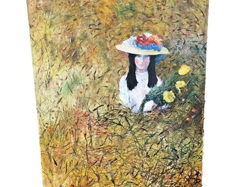 HUGE Vintage OIL PAINTING Woman Yellow Flower Field mid century modern signed sofa size listed artist Lucille Cohn New York large bonnet hat