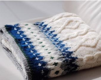 Hand knit blanket ,  Wool blanket , throw blanket,Handmade Blanket ,Winter blanket