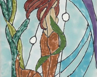 Mermaid #267 Shy and Beautiful Hand Painted Kiln Fired Decorative Ceramic Wall Art Tile 8 x 6