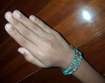 Blue Jasper, 6mm Double Wrap Bracelet