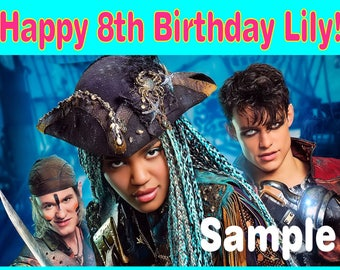 Personalized Birthday Party Edible Image Icing Frosting Cake Topper - 1/4 Sheet Sized - DISNEY Descendants 2 Movie Uma Harry Gil - Pirates