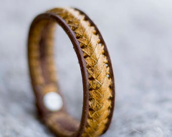 Handmade Leather Bracelet For Man Icelandic fish Salmon skin