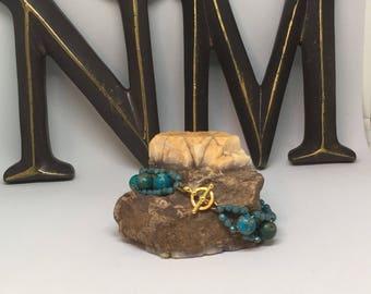 Azurite Chrysocolla Beaded Bracelet