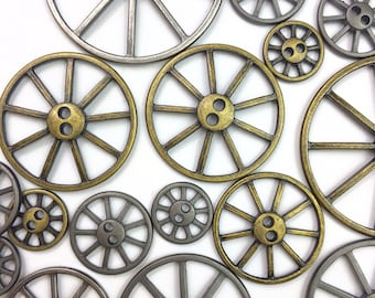 Wheel Buttons, Brass and Antique Silver