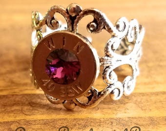 40 Caliber Silver Filigree Ring