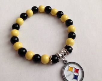 Black and Yellow Football Bracelet, Pittsburgh Steelers Inspired Bracelet, Steelers Inspired Jewelry,Steelers Inspired Bracelet,ShipsFromUSA